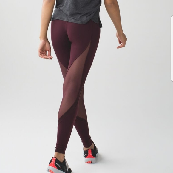 Lululemon high rise leggings with mesh
